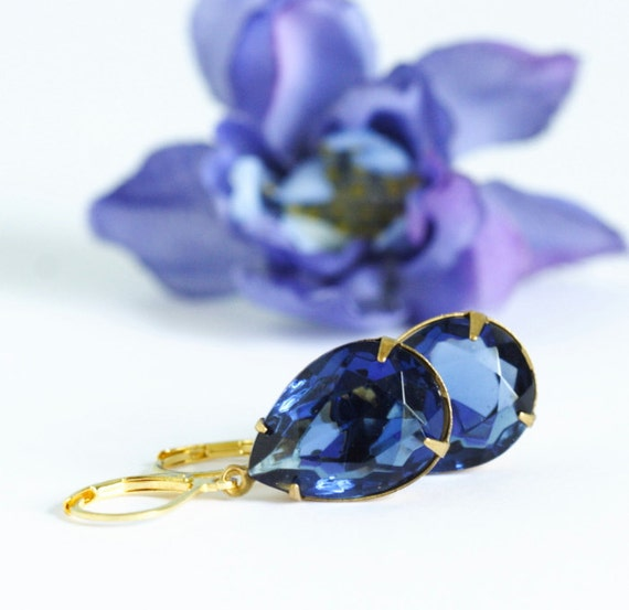 Sapphire Blue Vintage Jewel Earrings - Perfect For Party Season