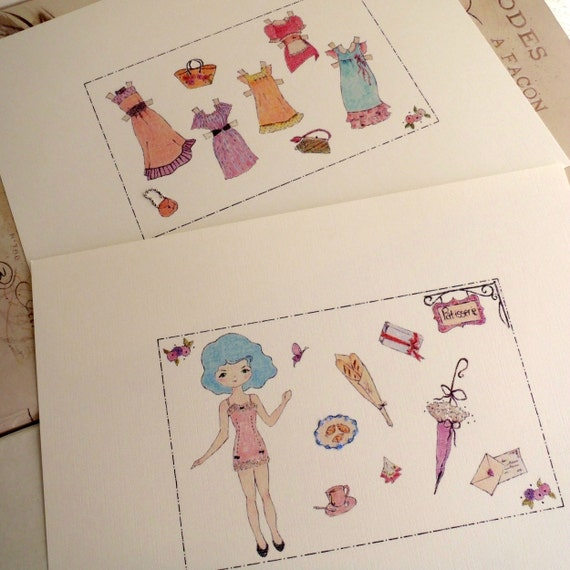 Paper Doll, Color In, Vintage Paper Doll, Paper Doll and Accessories, Patisserie