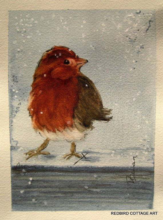 Bird in Snow Watercolor Painting 5 x 7 Original Bird Art