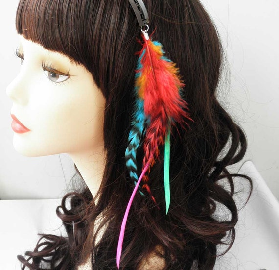 Handmade Grizzly Feather with thin stiff feather Hair Extensions Clip In 002
