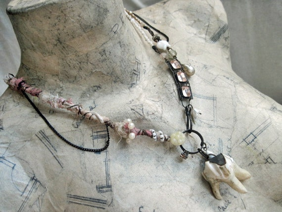 Soul Eater. Shabby Rustic Gypsy Necklace Pink and White Altered Assemblage with Animal Tooth.