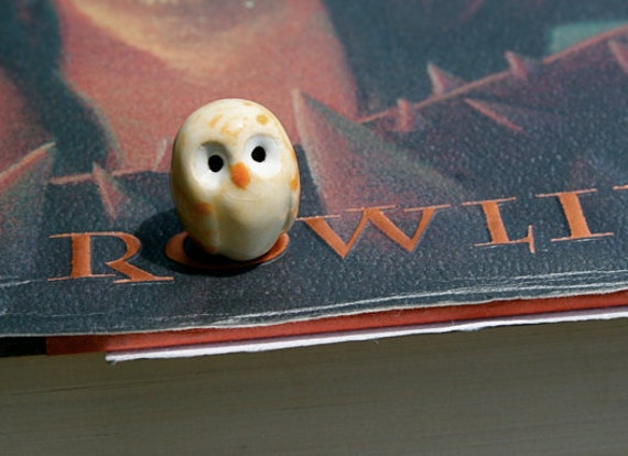 RESERVED FOR TONYA: Clay Creamsicle Pygmy Owl Harry Potter Inspired Owlery