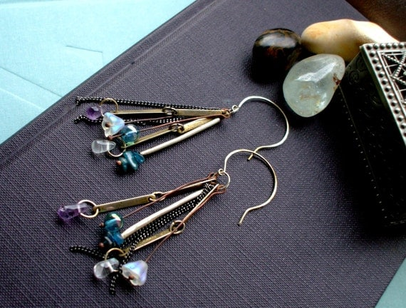 Sterling silver earrings dangles gemstone earrings - salvaged gypsy