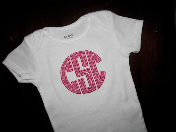 SALE-Personalized Baby Gift- Appliqued Initials- Pink