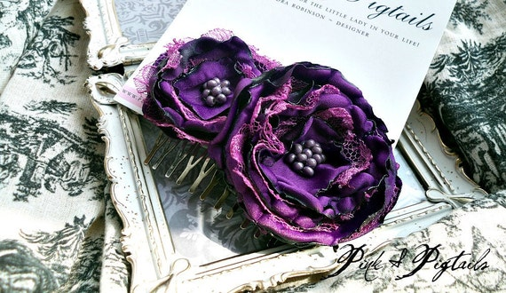 Perfect for the Fall - New Purple Fabric  Hair Comb (Item 70-11)