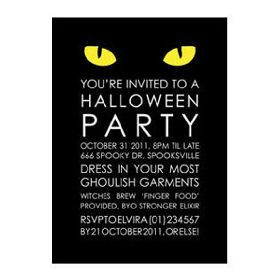 Halloween Party Invitation Black Cat PRINTABLE 5x7