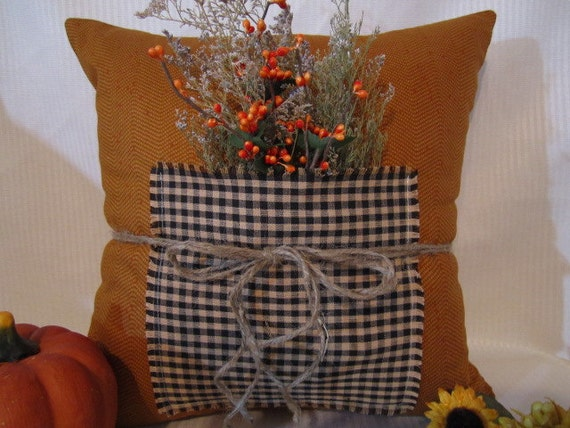 Autumn Fall Pillow Cover 15 x 15 Zipper Closure Decorated with Dried Flowers and Twine
