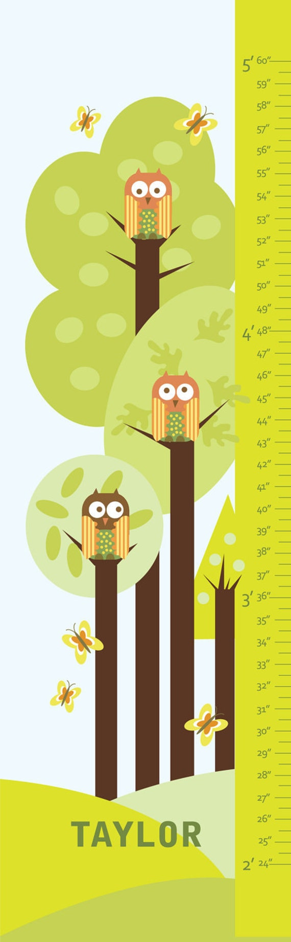 "Personalized Growth Chart Canvas- Forest and Owls- 13"" X42"" Inches - Free personalization"