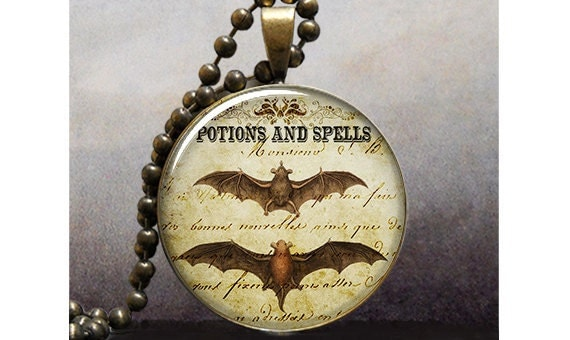 Bat Wing Potion Halloween art pendant charm, resin pendant photo pendant (178)
