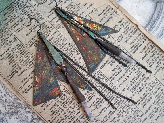Stupor and Storm. Raw Quartz Points and Rusty Tin Gypsy Earrings.