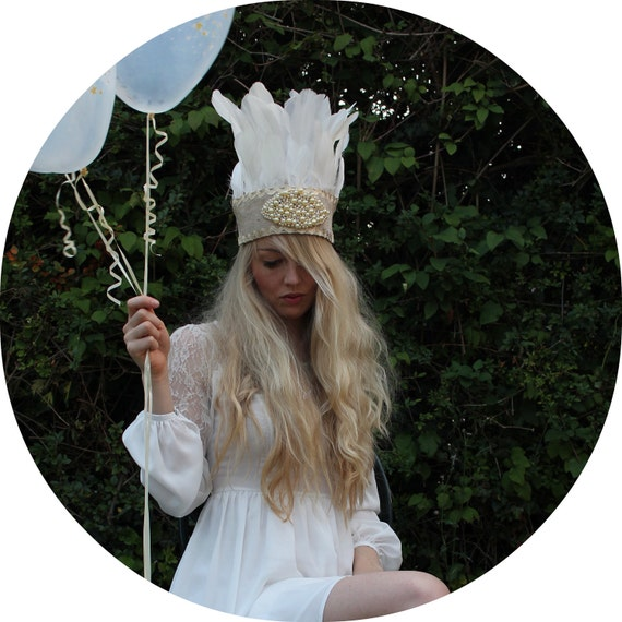 White feather and pearl headdress