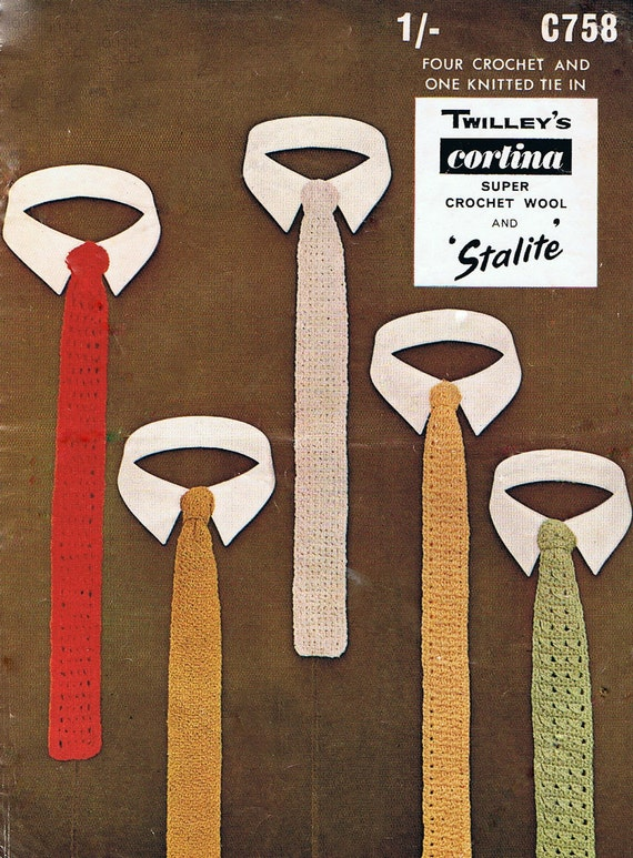 5  Skinny Ties -  Knitting and Crochet Pattern Mens Tie PDF Vintage 1960s (T185) Treasury Item