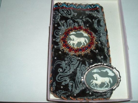 Mama  Horse and Baby Cameo Brooch With Matching Cell Phone Or Eyeglass Case