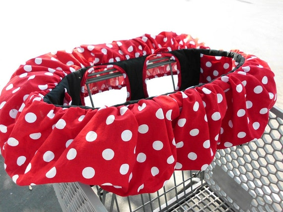 Minnie Mouse Red w White Polka Dot Shopping Cart Cover High Chair Cover