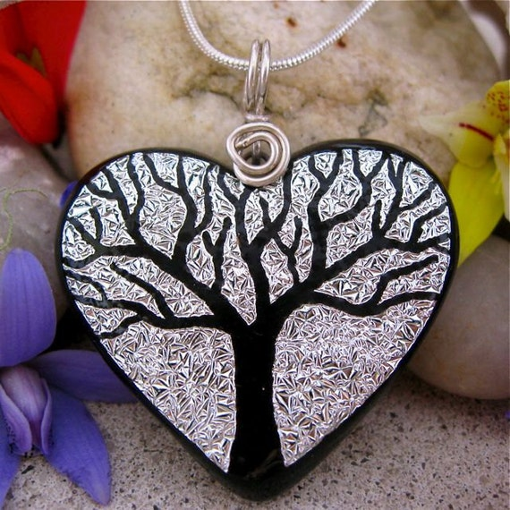 TREE LOVE HEART Dichroic Glass Pendant - Hand Etched Sparkling Silver, Fused Glass, Unique Dichroic