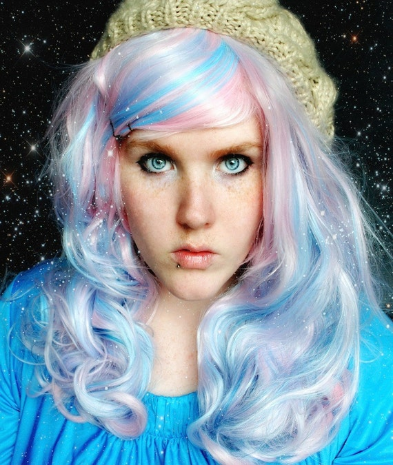 20% OFF Secret Galaxy wig // Blue Pink Curly Long Wig