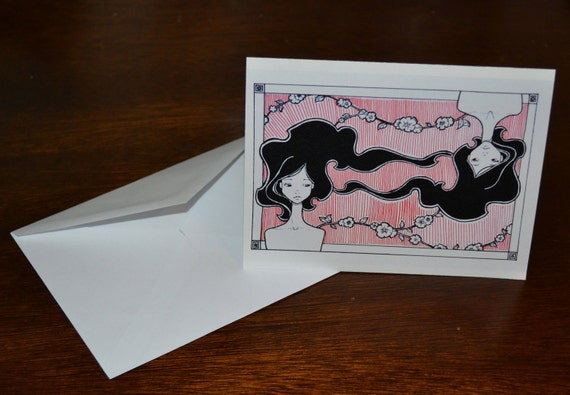 Twins Notecard set of 4: black and red