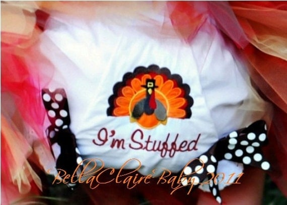 Ready to ship size 12-18  months I'm Stuffed Turkey Thanksgiving diaper cover bloomers for baby girl bows
