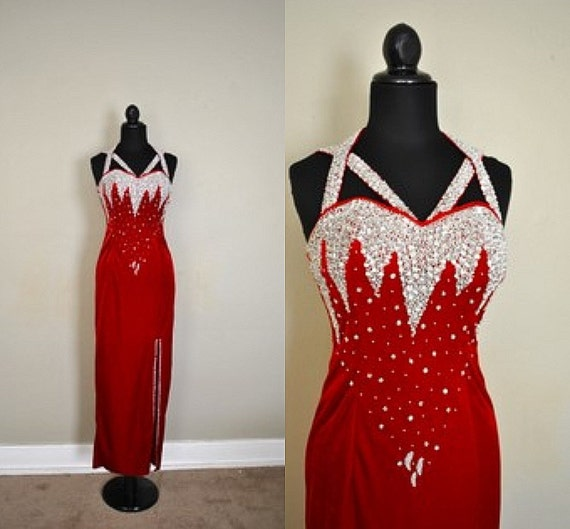 1980s Handmade Jazz Singer Red Dazzle Dress