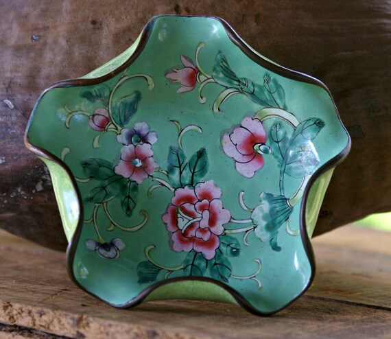 Chinese Cloisonne Dish Vintage