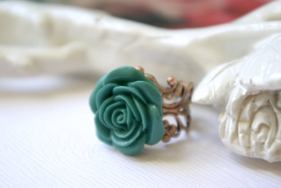 Grande Lagoon Blue Rose on Copper Filigree Ring
