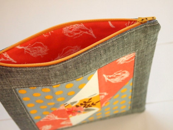 Large Zip Patchwork Pouch- Coral and Tangerine Attic Windows