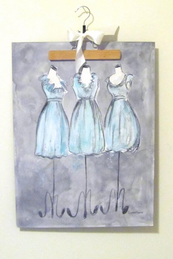 Original - Watercolor and Charcoal - Vintage Dress Painting - Amanda's Trio - 18x24  - Lauren Maurer Artworks on Etsy
