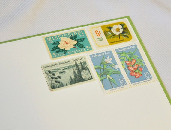 One Set of Vintage Postage Stamps - Flora / Flowers / Trees - mail one letter