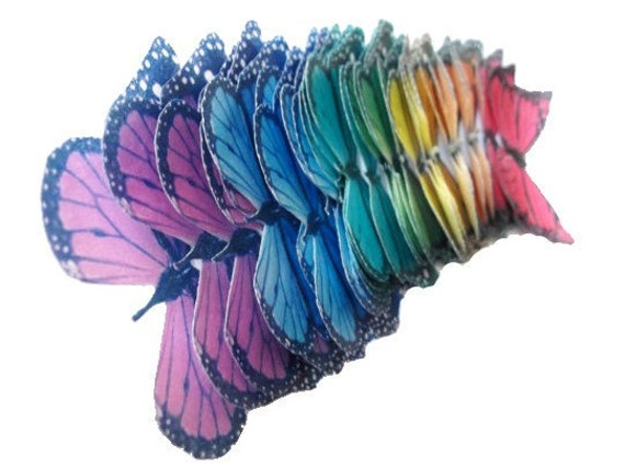 50 Monarch Rainbow Small Edible Butterflies Cake Decorations Cupcake