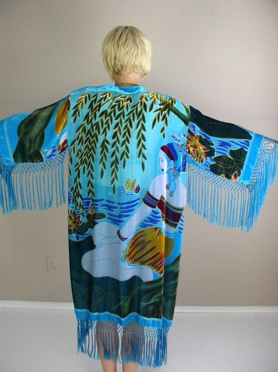 vtg 80s jacket Butterfly and Lotus draped ETHNIC silk velvet KIMONO fringe one size
