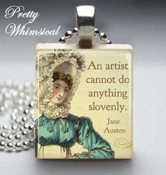 jane austen artist quote   scrabble tile pendant  from prettywhimsical