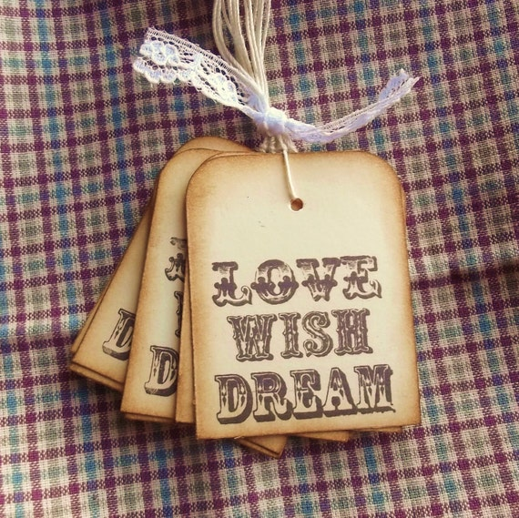 Love Wish Dream Gift Tags - Vintage Tags, Brown, Manila Cream 8