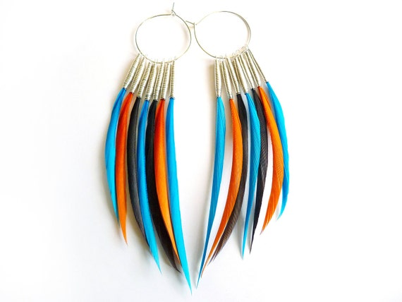 30% OFF - Black Friday SALE - Interchangeable Feather Earrings in Turquoise, Orange and Brown
