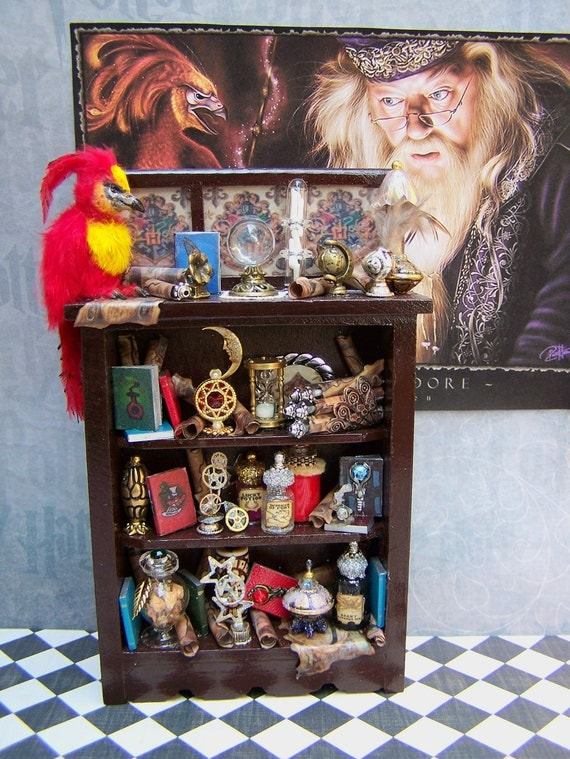 Dollhouse Miniature Harry Potter Dumbledore's Study Cabinet with Fawkes the Phoenix Bird 3 week layaway available