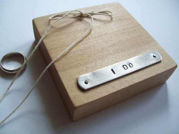 oliveandfern I DO ... wood and metal ring bearer pillow