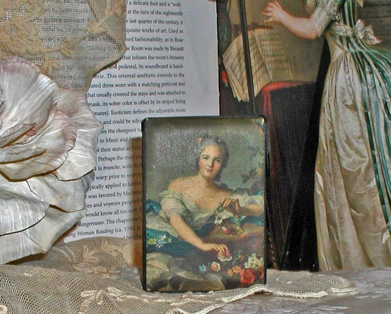 Italian Silk Picture on Vintage Black Silk Cigarette Case