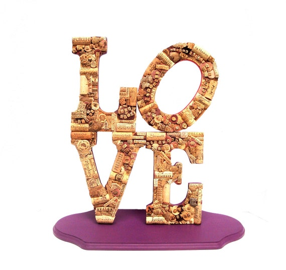 Customized Handmade Vintage Wine Cork Letter LOVE Statue - Vineyard Weddings -  Robert Indiana - Shabby Chic -  Decor