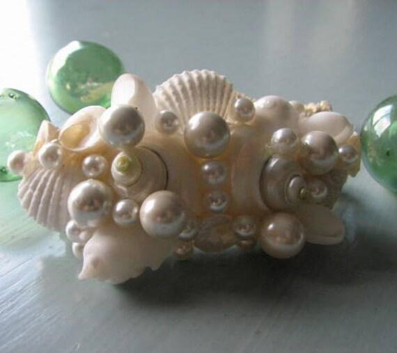 Пляж Свадебный Seashell волос Барретт - Shell Волосы аксессуаров в белых раковин и жемчуга
