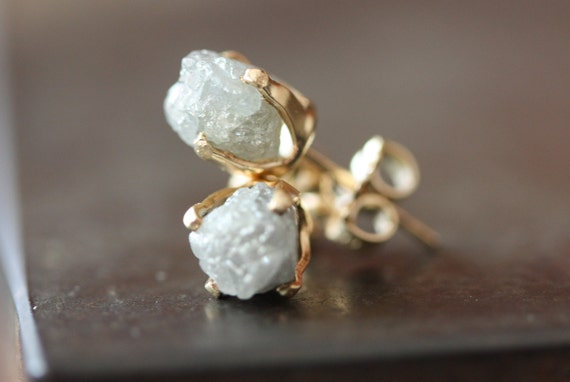Large Rough Diamond Stud Earrings in Gold