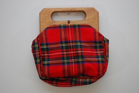 Vintage Tartan Plaid Wood Handled Handbag