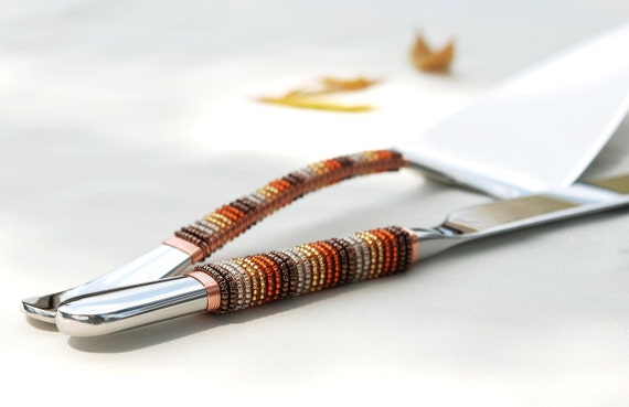 FALL Wedding Cake Server And Knife Set Hand Beaded In Autumn Harvest Brown