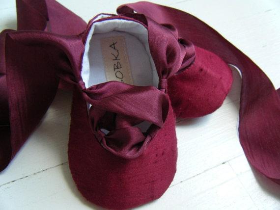 Свадебная обувь невесты балета Бургундию Шелковый свадебных