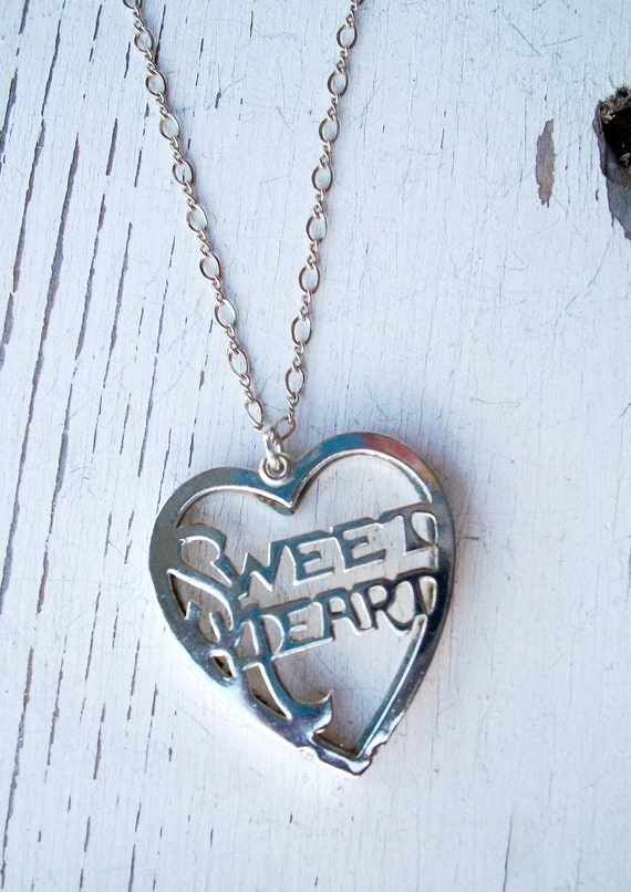"OOAK Silver NECKLACE & Heart Shaped ""Sweetheart"" Cutwork Pendant - Simple Elegance -SALE"