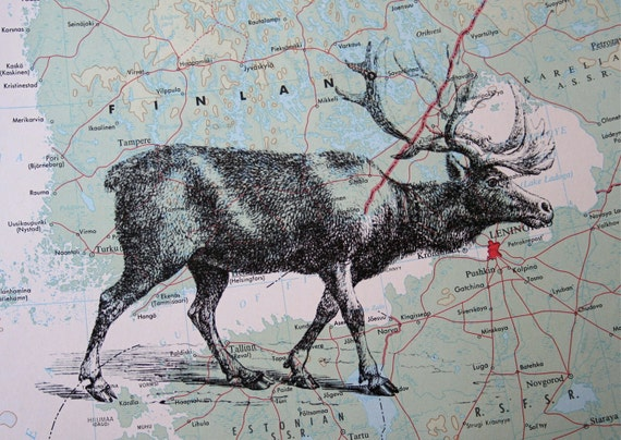 Reindeer Print on Vintage Map of Finland and Russia - 5 x 7