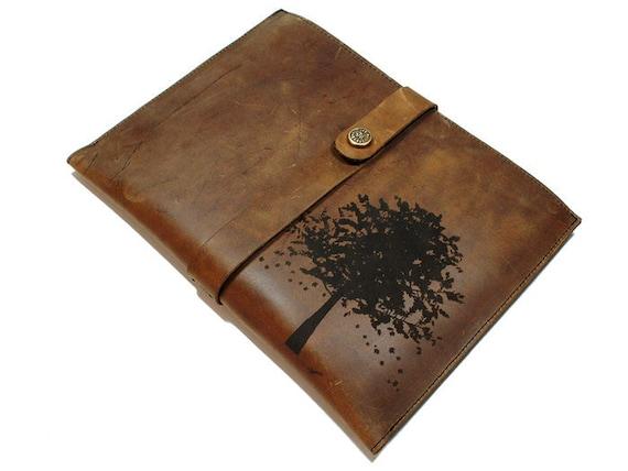 Ipad 2 Distressed Leather Sleeve - Autumn Tree