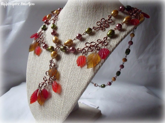Fall Splendor Necklace - Freshwater Pearls, Glass Leaves, Wire Work, Free Shipping