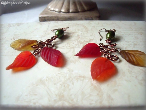 Fall Splendor Earrings - Freshwater Pearls, Glass Leaves, Free Shipping