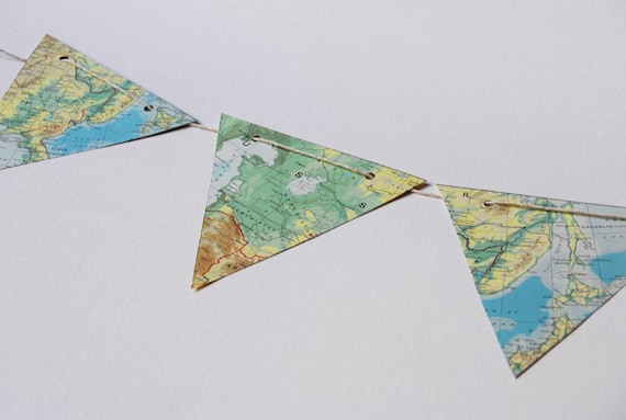 Atlas bunting and party decoration - vintage paper maps blues and greens