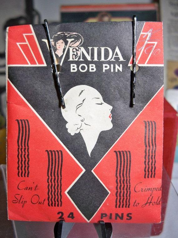 Art Deco Packet of Venida Bob Pins Sealed Art Deco Profile of Lady 1940s