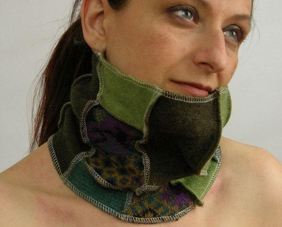 капот трубки шарфом шею теплым экологически чистом scarflette переработанных шерсти лоскутное многократно использовать зеленый бирюзовый и фиолетовый флокс унисекс tbteam